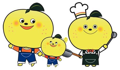 庄川生産組合マスコットキャラクター「ゆずるん」と「ゆずりん」